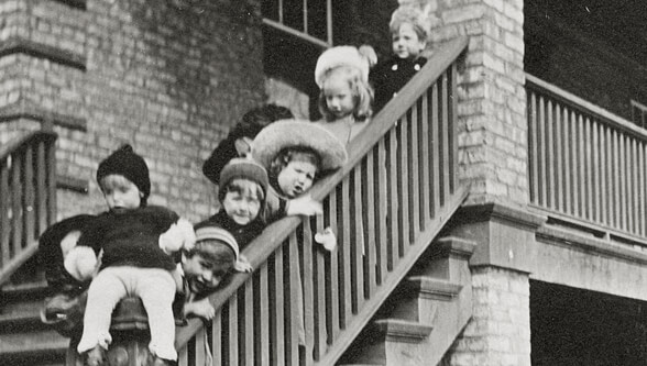 Kids on staircase
